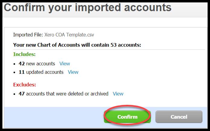 import chart of accounts xero