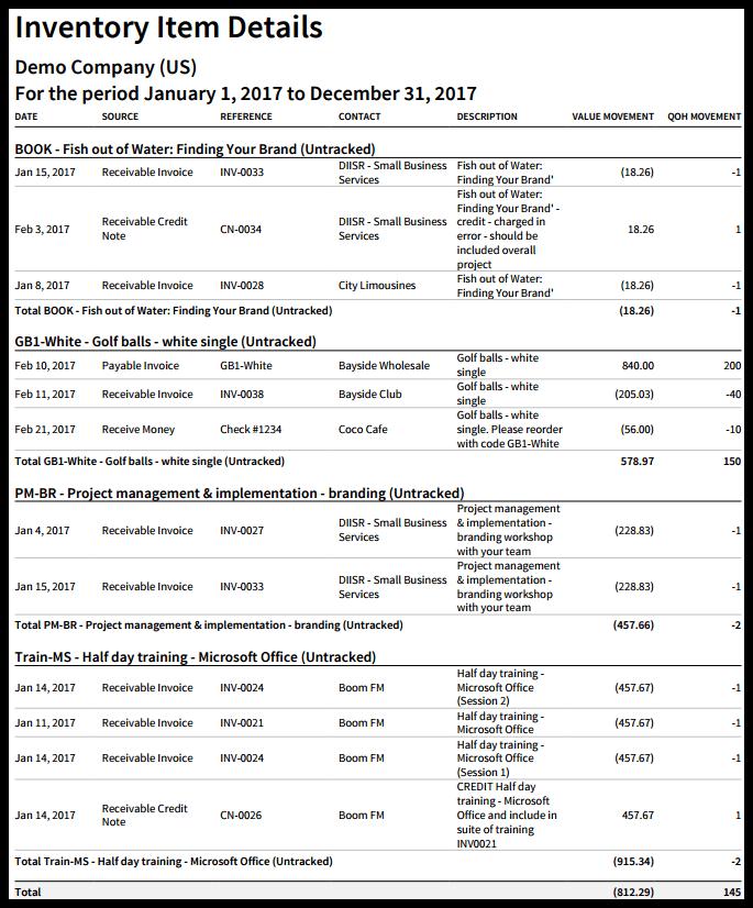 Inventory Item Details Report in Xero