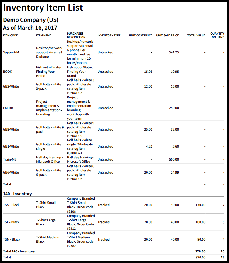 Inventory Item List Report in Xero