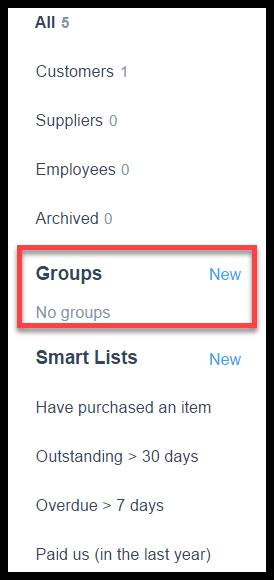 groups in xero