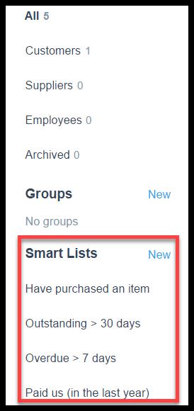 smart lists in xero