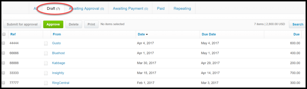 import bills xero