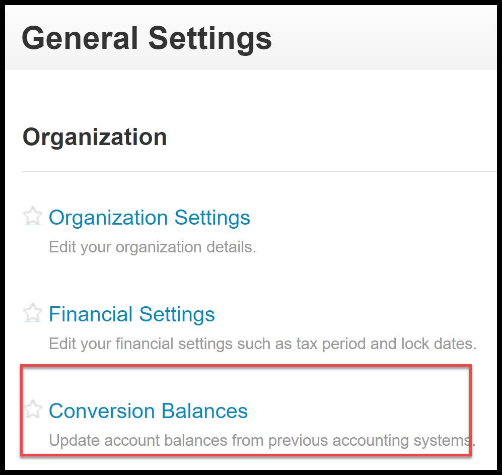 set up account balances in xero