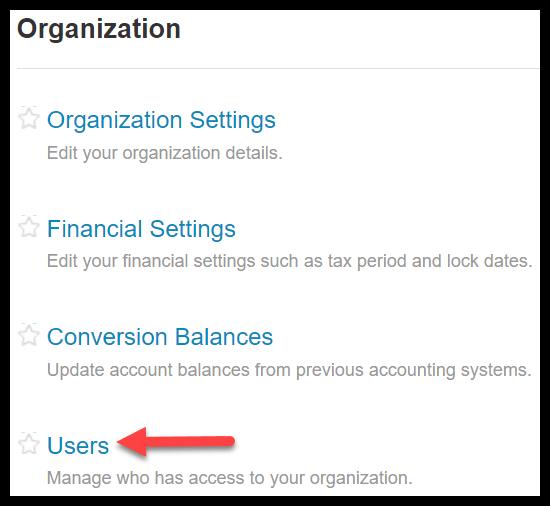invite users in xero