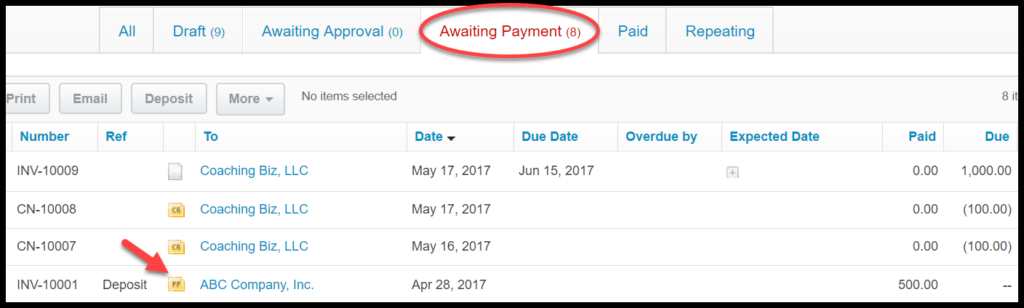 receive payment in xero
