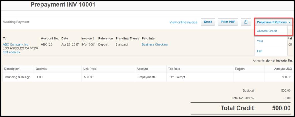 receive payment in xero