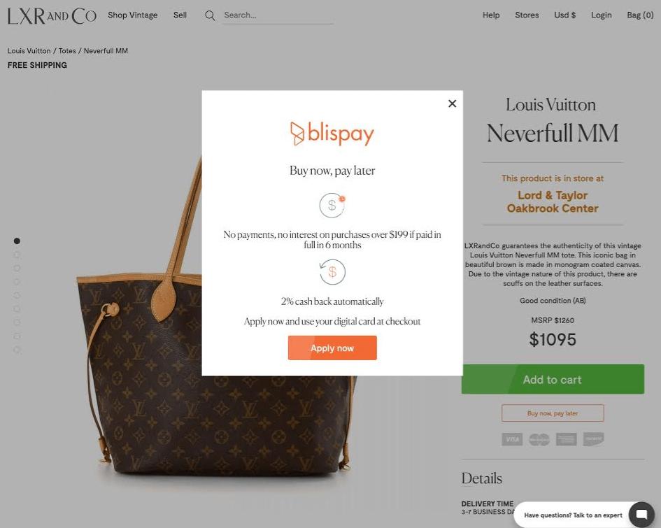 Blispay retail financing - easily display Blispay's financing option as website popups