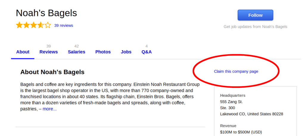 Indeed Company Page Example