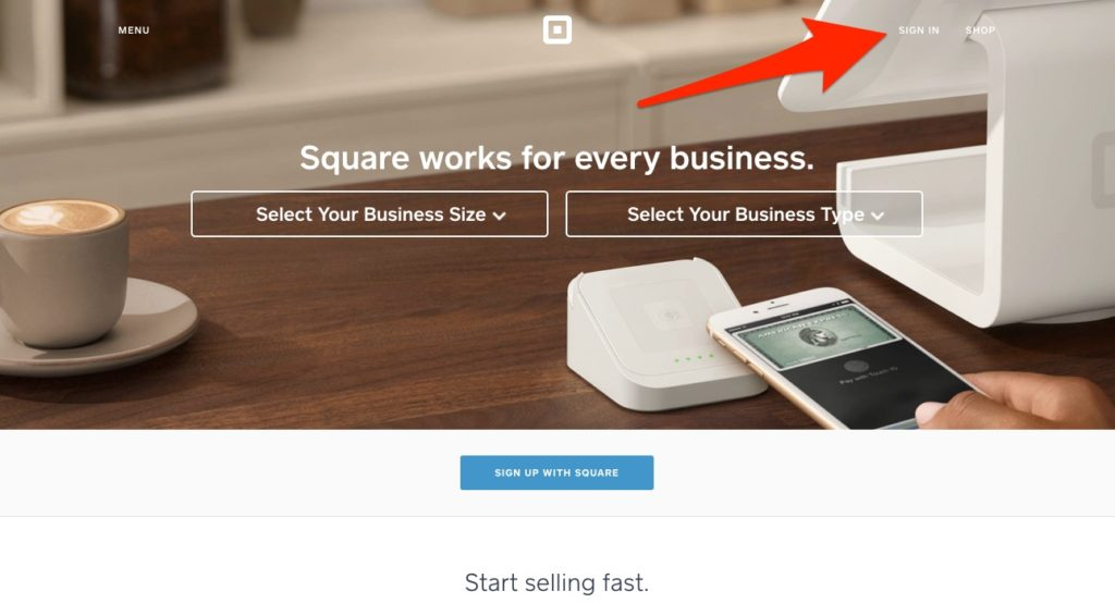 Square invoice login screen