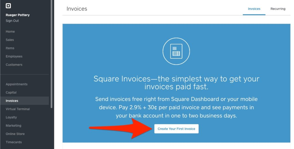 Square invoice create your first invoice