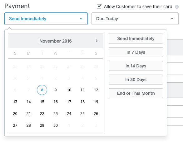 Square invoice set time and payment info
