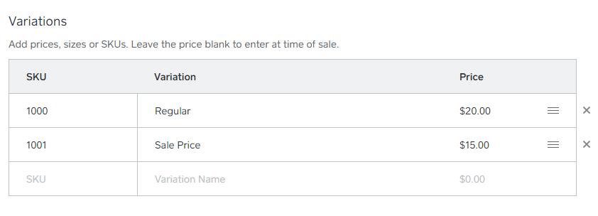 Square inventory add price