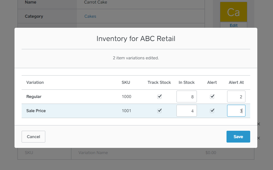 Square inventory tracking