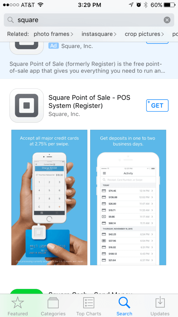 Square POS (Point of Sale): Mobile app