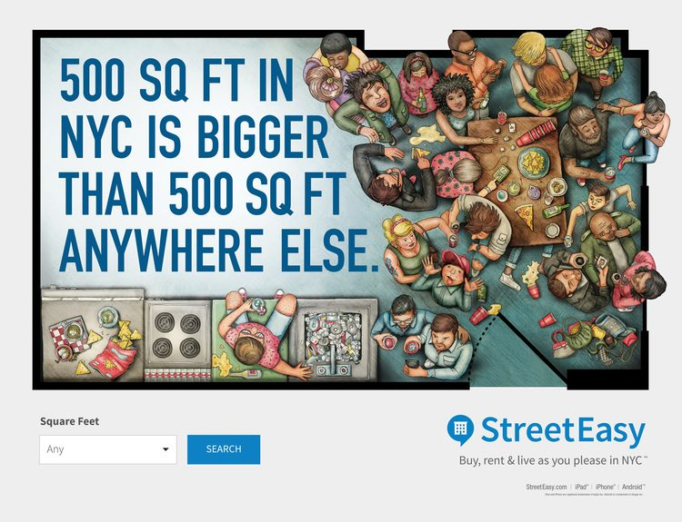 "Streeteasy ad ""500 sq ft"""