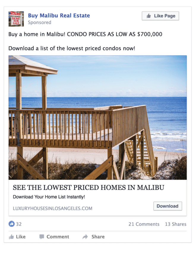Placester & Tristan and Associates Facebook ad example
