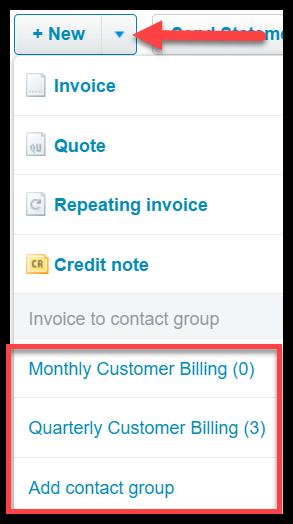 invoice a customer in xero