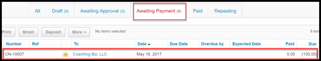 create a credit note in xero