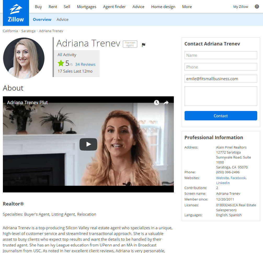 zillow premier agent - profile screenshot