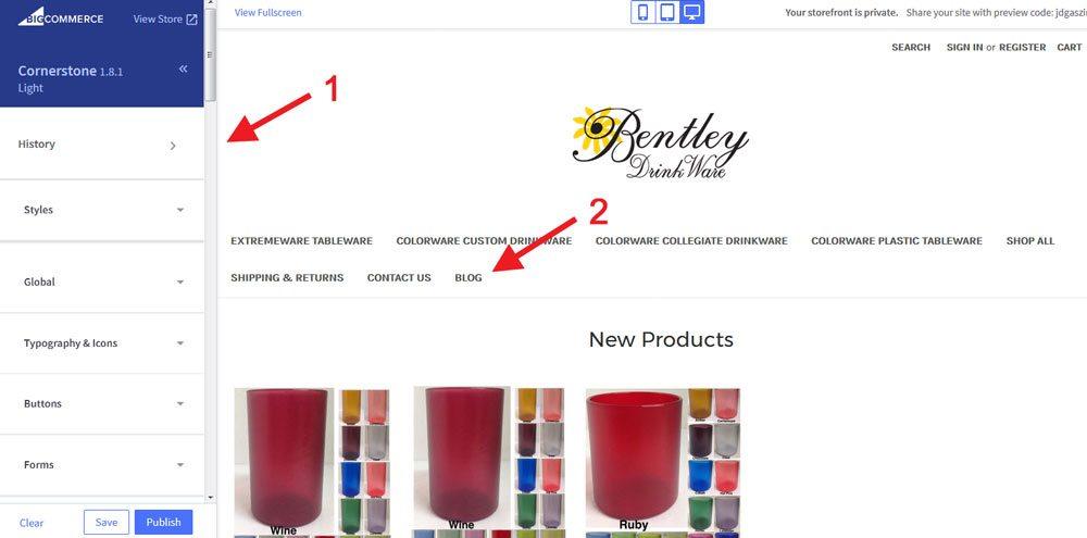 BigCommerce customeize store navigation