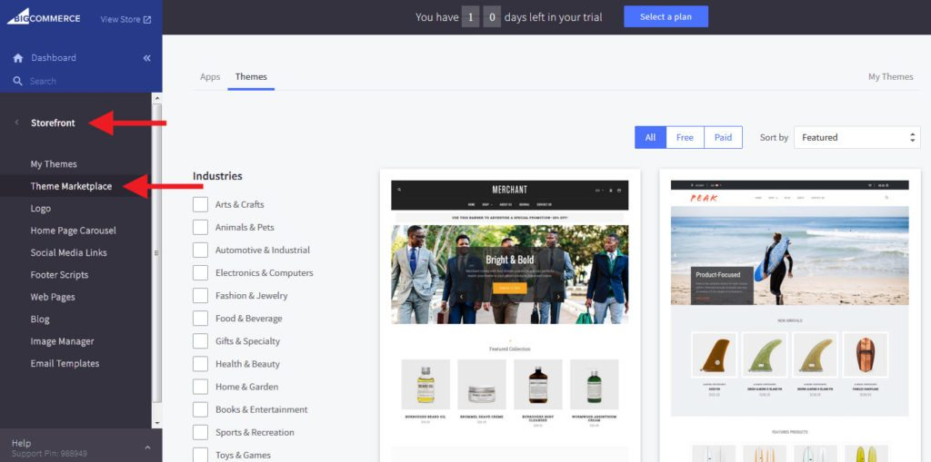 BigCommerce try other themes
