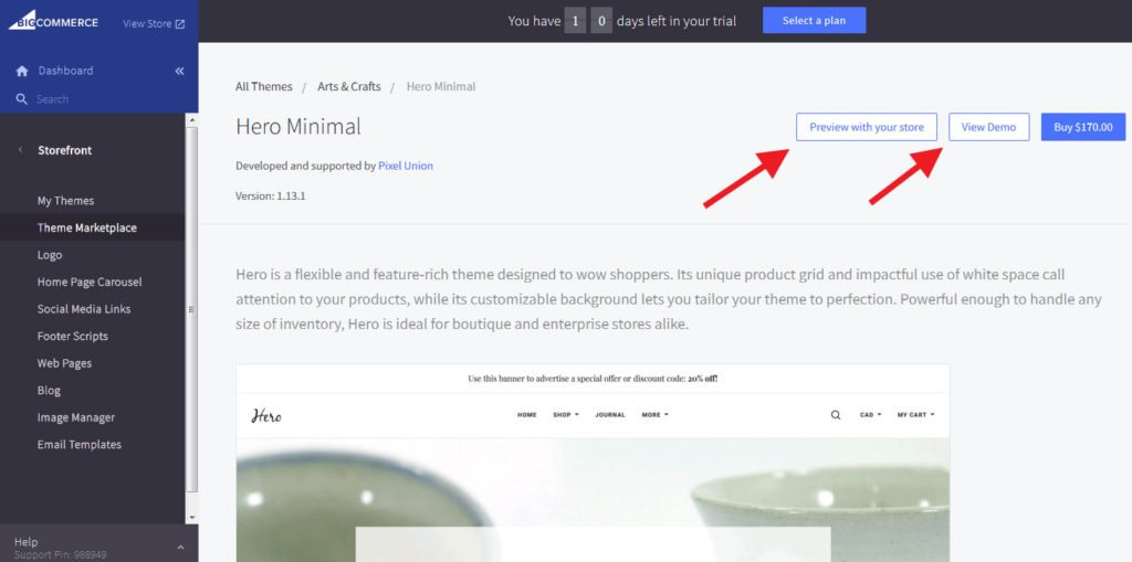 BigCommerce preview in new themes