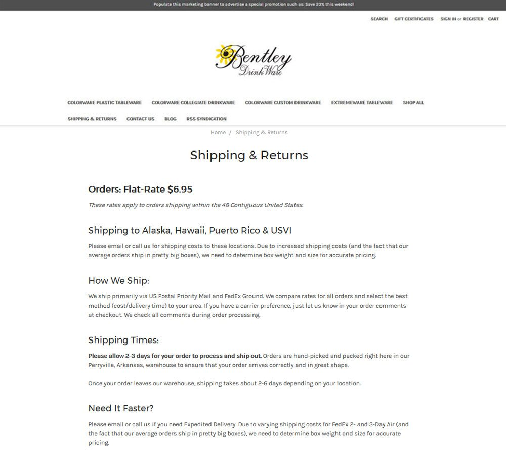 BigCommerce info pages