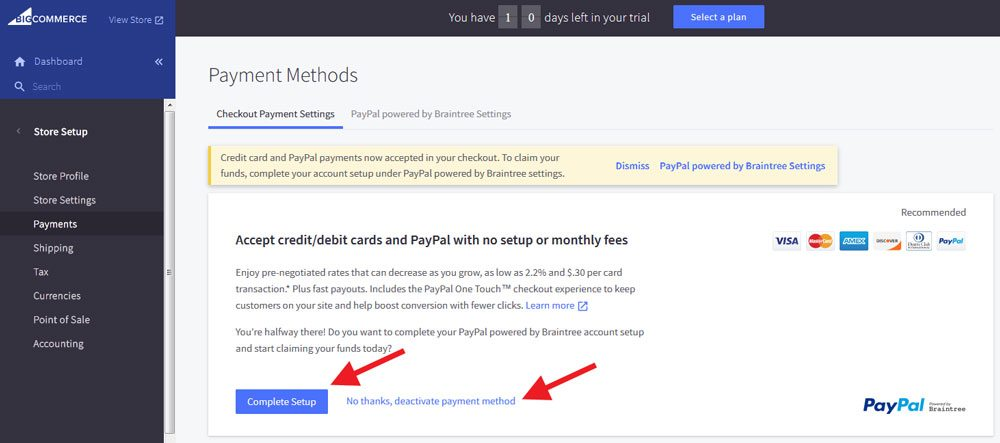 BigCommerce payment setup