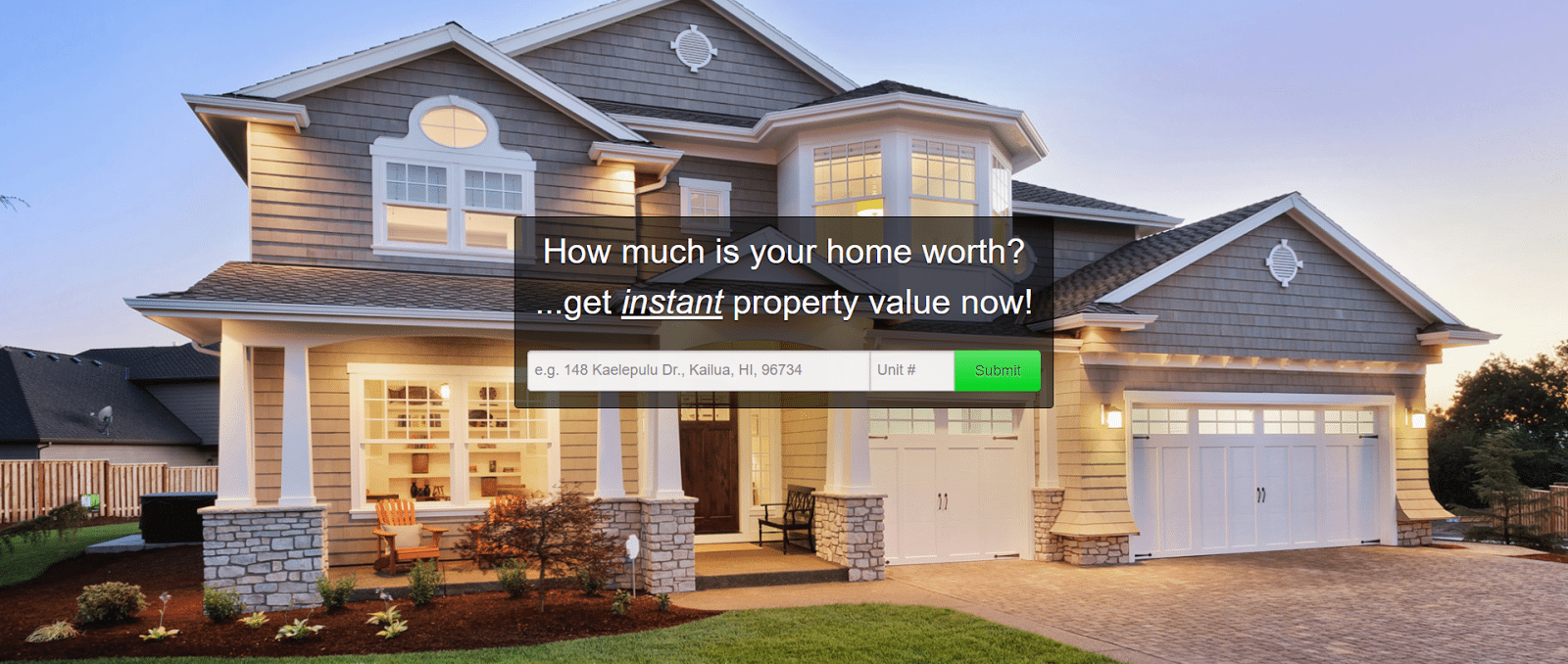 An online homepage for property value