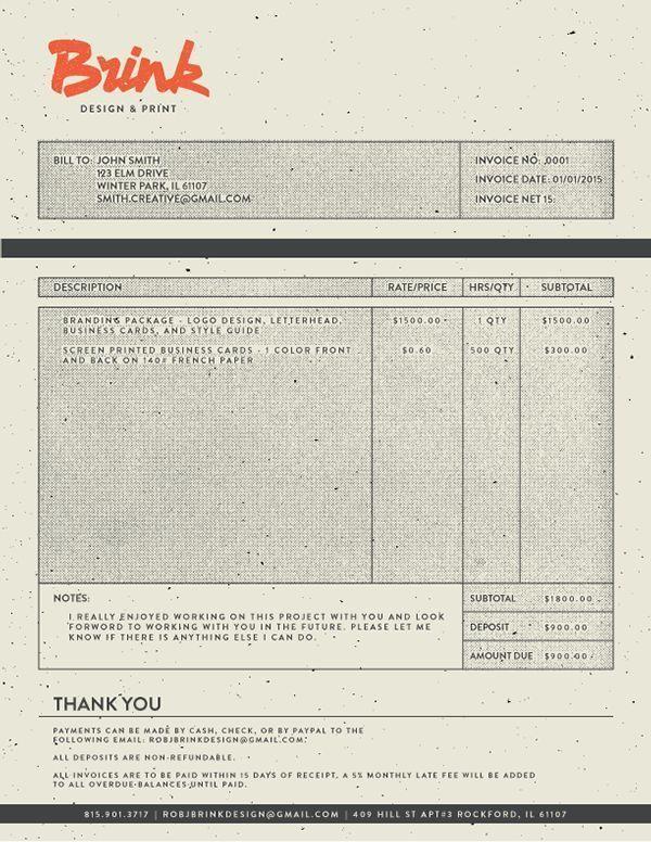 Vintage Invoice Example