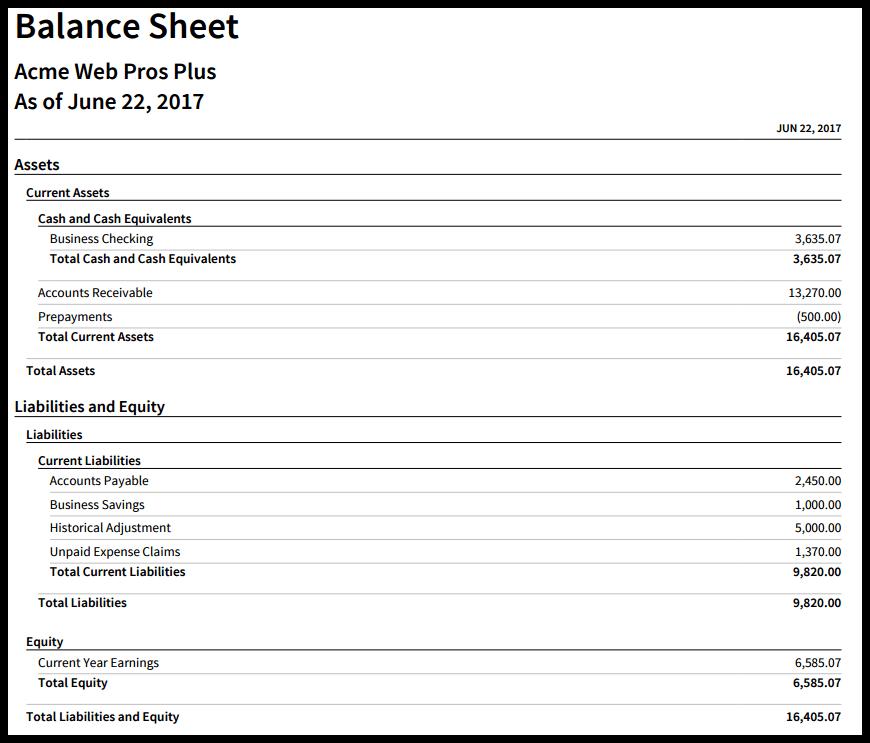 Run a Balance Sheet report in Xero.