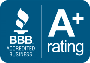 BBB accreditation badge for rated businesses