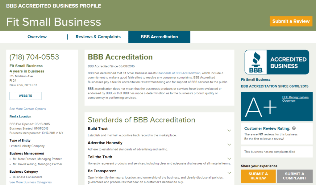 Sample BBB Accredited Business Profile Page