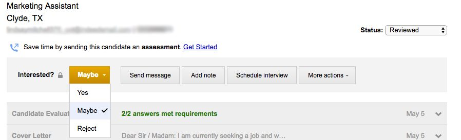 IT Recruitment: Yes, Maybe, Reject