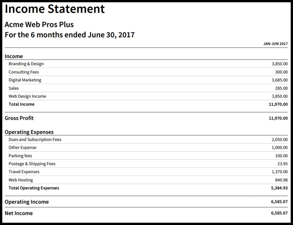 income statement in xero