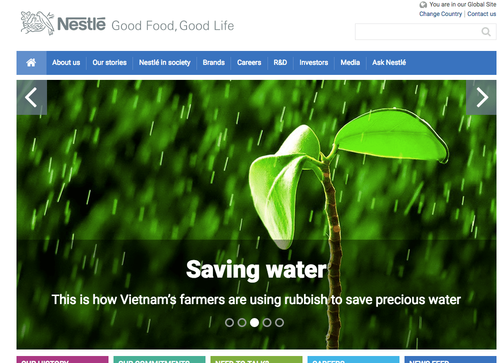 Nestle - Employer branding on company website