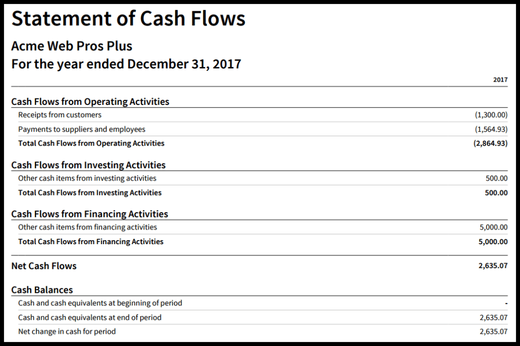 Sample Statement of Cash Flows run in Xero.