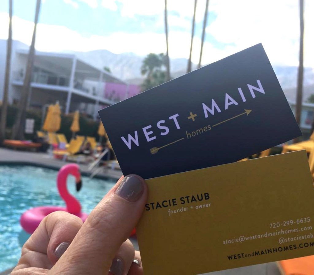 west and main business card