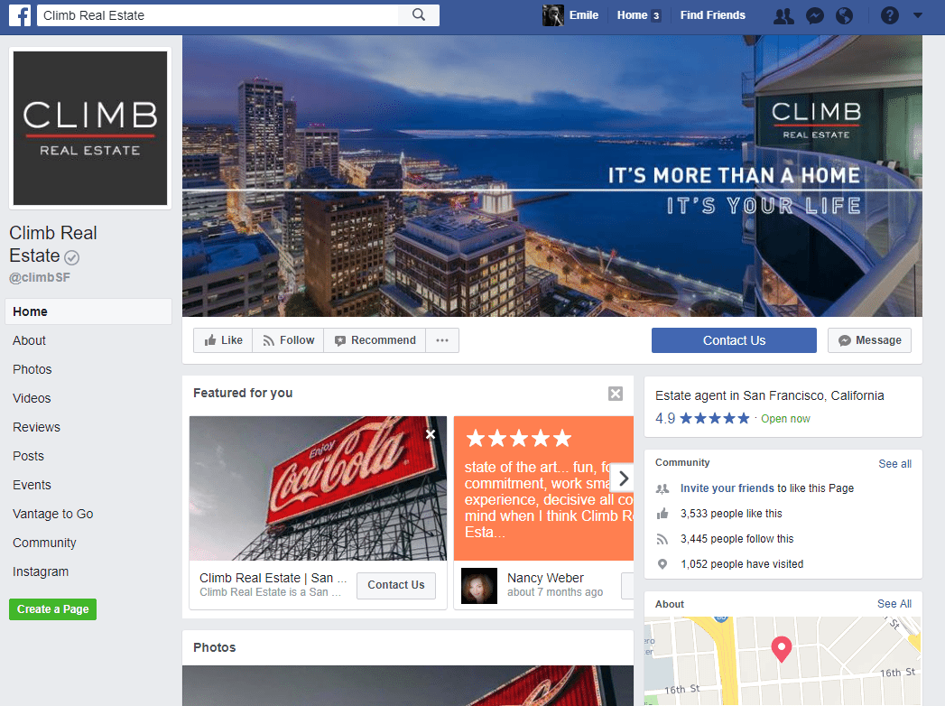 Real Estate Facebook Page Example: Climb Real Estate