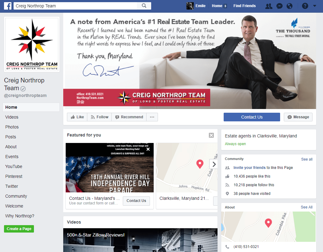 Real Estate Facebook Page Example: Creig Northrop Team Long and Foster