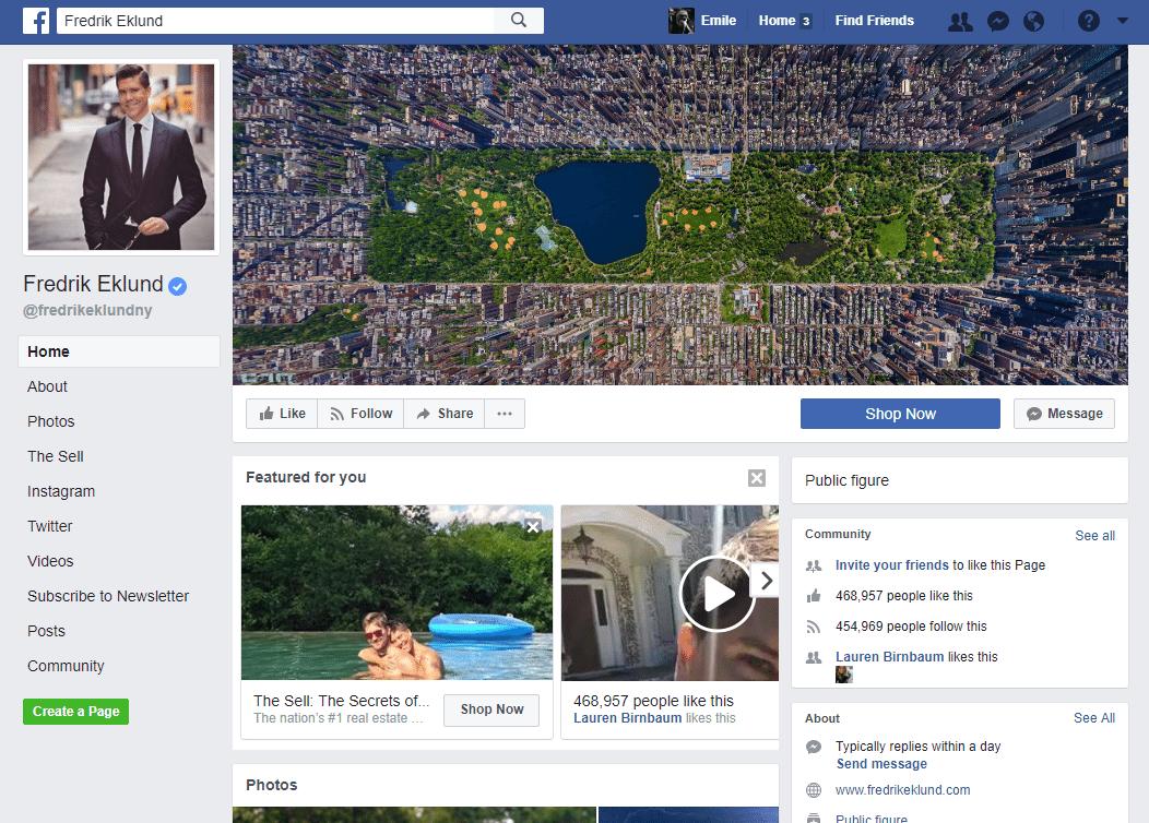 Real Estate Facebook Page Example: Fredrik Eklund