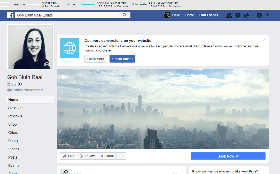 Real Estate Facebook Page screenshot - homepage