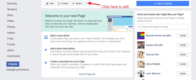 screenshot - editing facebook real estate page