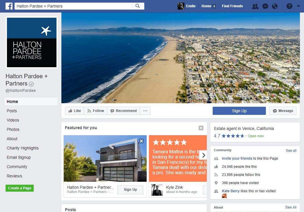 Real Estate Facebook Page Example: Halton Pardee + Partners