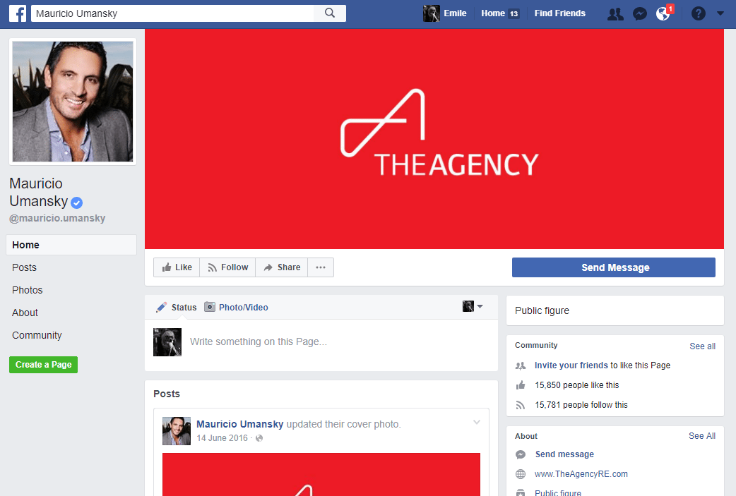 Real Estate Facebook Page Example: Mauricio Umansky