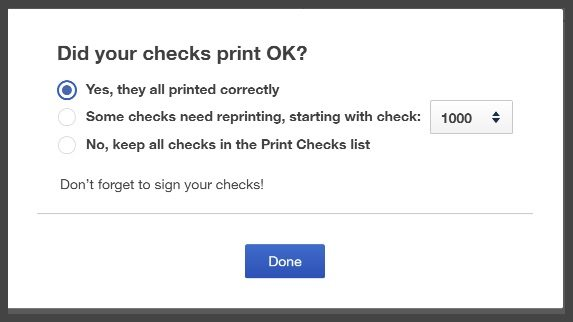 Verify QuickBooks Checks Printed OK