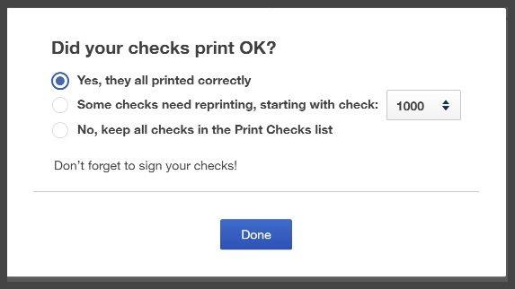 Verify QuickBooks Checks Printed OK