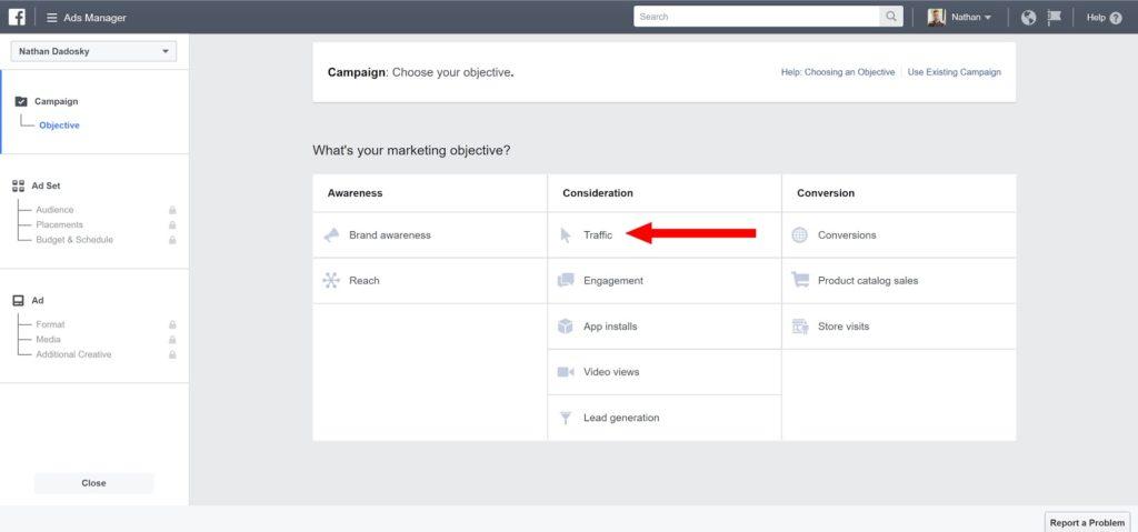 facebook ads for real estate-marketing objective