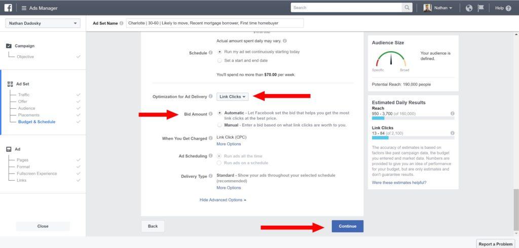 facebook ads for real estate- ad set name