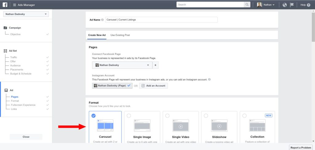 facebook ads for real estate- ad format